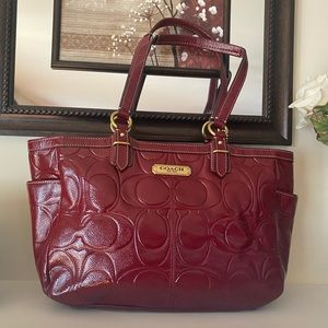 Coach Dark Red Patent North South Tote .